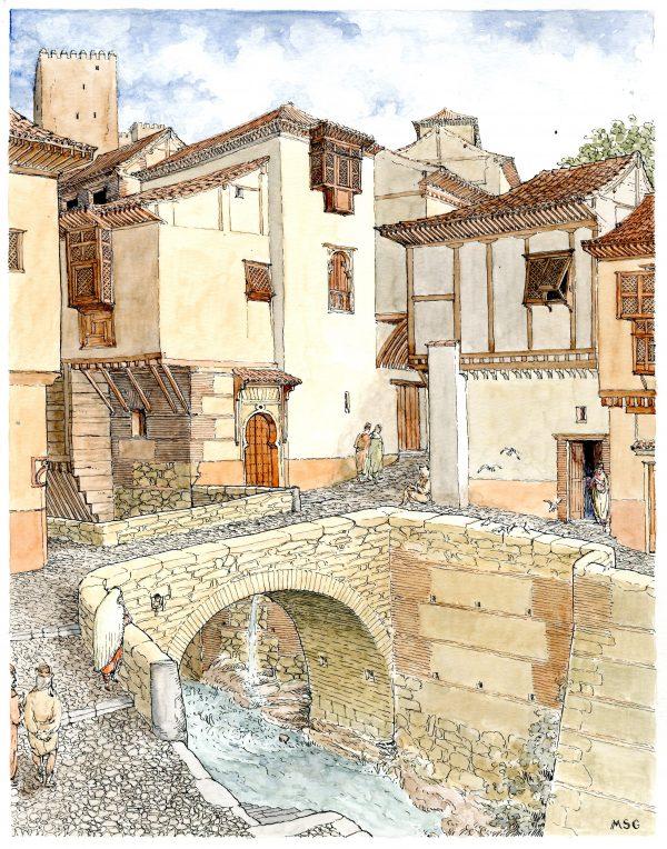 Dibujo representando una calle de la Granada nazarí, a la altura del puente del Baño de la Corona (MSG-Antonio Orihuela)