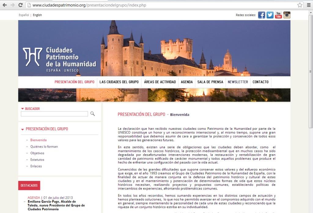 Web Ciudades Patrimonio Humanidad España- 19072013