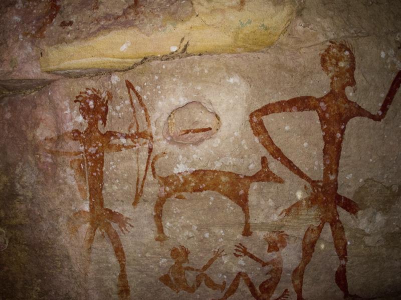 Pintura de la cueva Khao Chan Ngam que se localiza en la isla de Chan Ngam, en el este de Tailandia