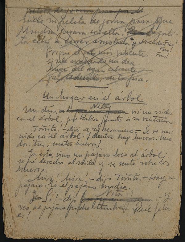 Cuentos manuscritos de Miguel Hernández.
