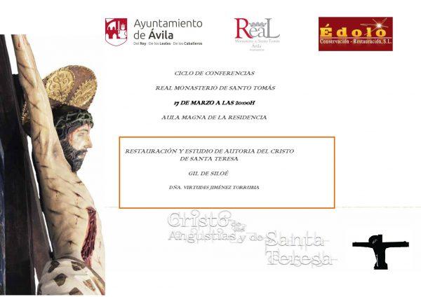 Tarjeta invitación charla restauración Cristo de Santa Teresa, Segovia
