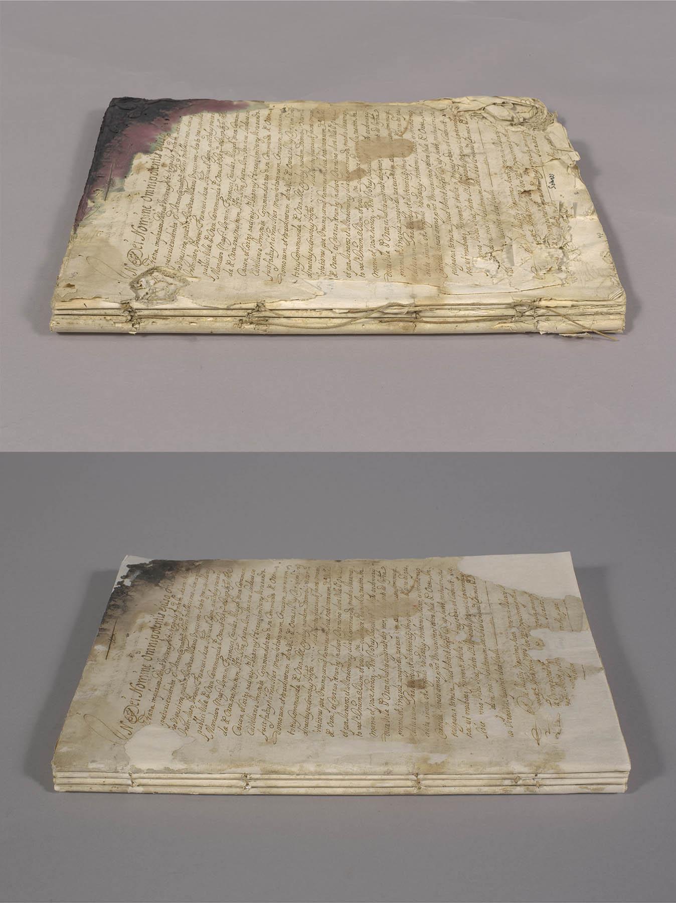 Imagen del libro becerro restaurado por la Generalitat, antes y después de los trabajos. Generalitat de Catalunya.
