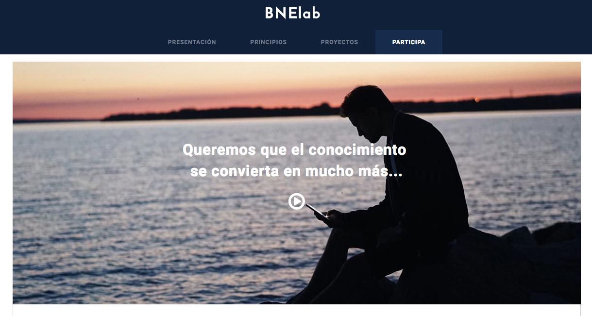 Portada de la página web del BNElab.