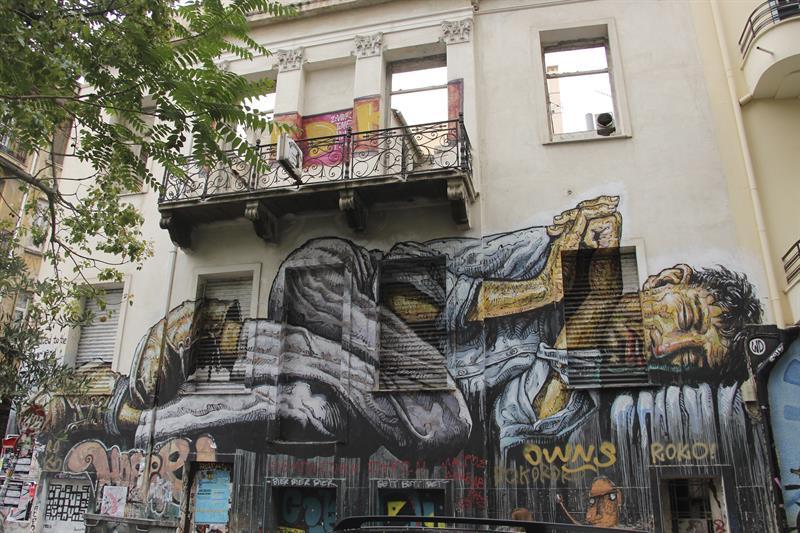 Imagen de un mural en el barrio anarquista de Exarchia