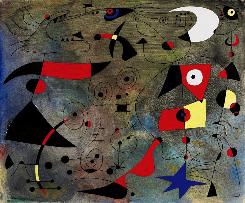 """Fotografía facilitada por Sotheby's de la obra del español Joan Miró """"Femme et oiseaux"""", parte de su célebre serie """"Constelaciones"""""""