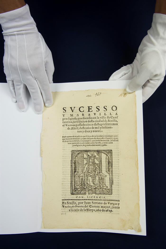 """Portada de la obra conocida como """"Relación de sucesos"""", impresa en Sevilla en 1619, de incalculable valor histórico"""