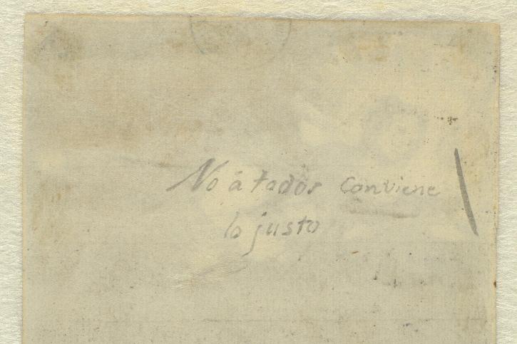 Inscripción en el reverso del dibujo Lux ex tenebris. Álbum C, 117. Francisco de Goya. Museo del Prado.