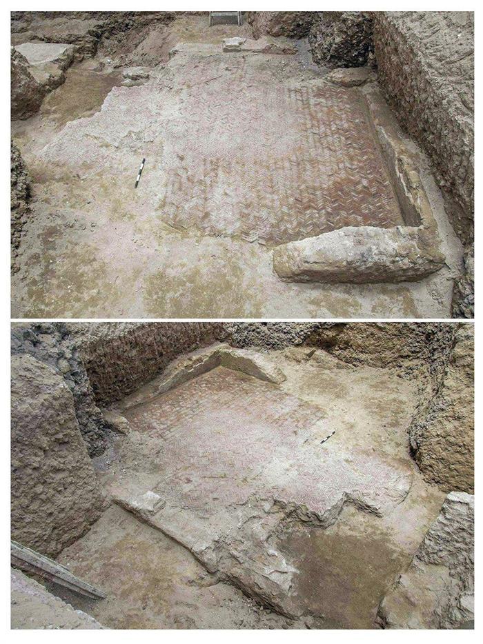 """Mosaico romano """"único en su género"""" que arqueólogos locales han descubierto en la ciudad mediterránea de Alejandría."""